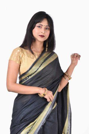 Black Color Cotton Saree