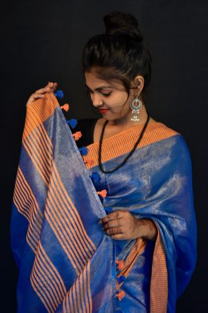 Blue Color Cotton Tie and Dye Saree