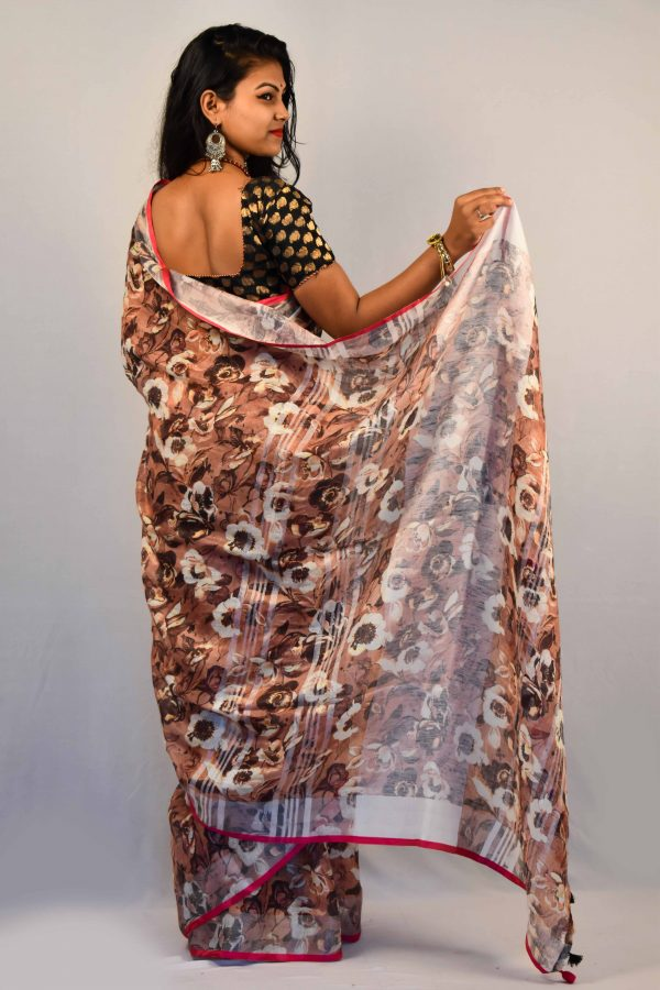 Brown Color Digital Print Linen Saree