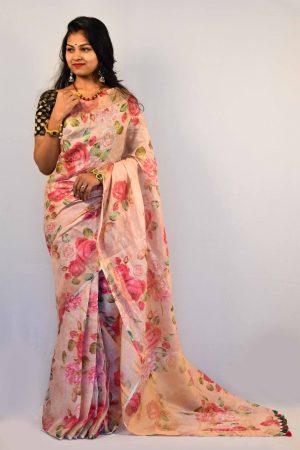 Light Pink Color Digital Print Linen Saree