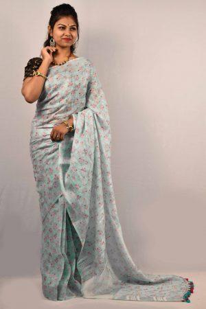 Light Blue Color Digital Print Linen Saree
