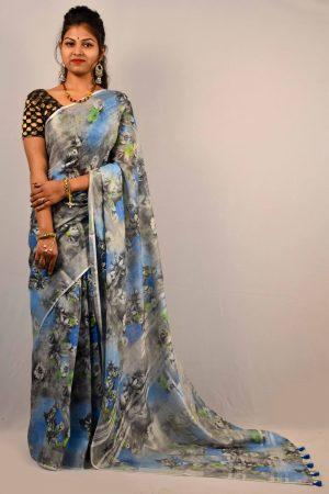 Grey Color Digital Print Linen Saree