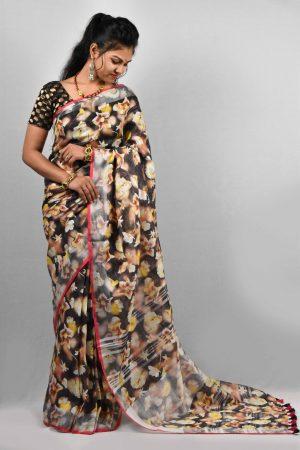 Black Color Digital Print Linen Saree