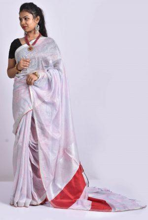White Color Cotton Linen Saree