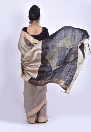 Grey Color Raw Silk Saree