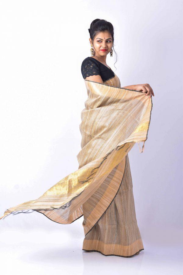 Brown Color Raw Silk Saree
