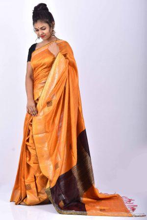 Orange Color Raw Silk Saree