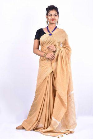 Golden Color Cotton Linen Saree
