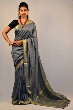 Gray Color Cotton Linen Saree
