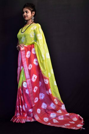 Light Green Color Cotton Tie and Dye Saree