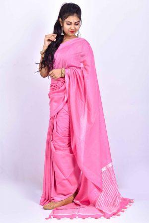 Light Pink Color Cotton Linen Saree