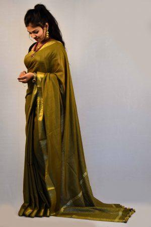Mehndi Color Cotton Linen Saree