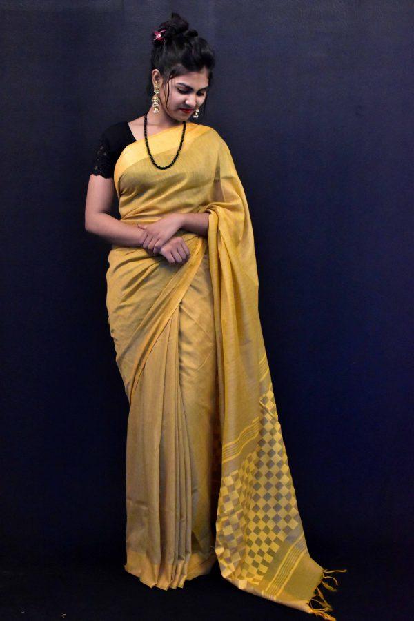 Golden Color Fancy Cotton Saree