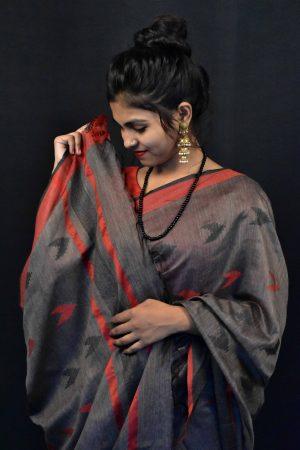 Black Color Fancy Cotton Saree