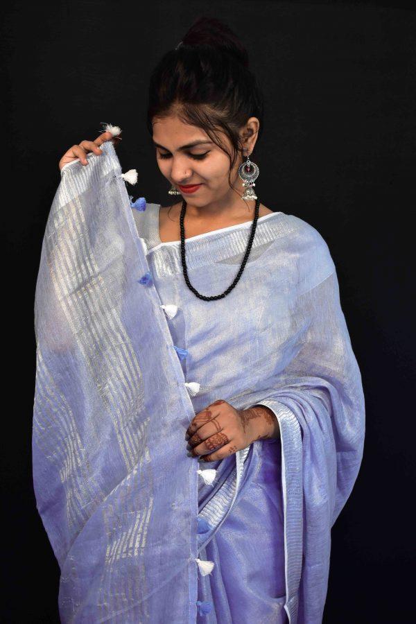 Grey Color Tissue Linen Saree