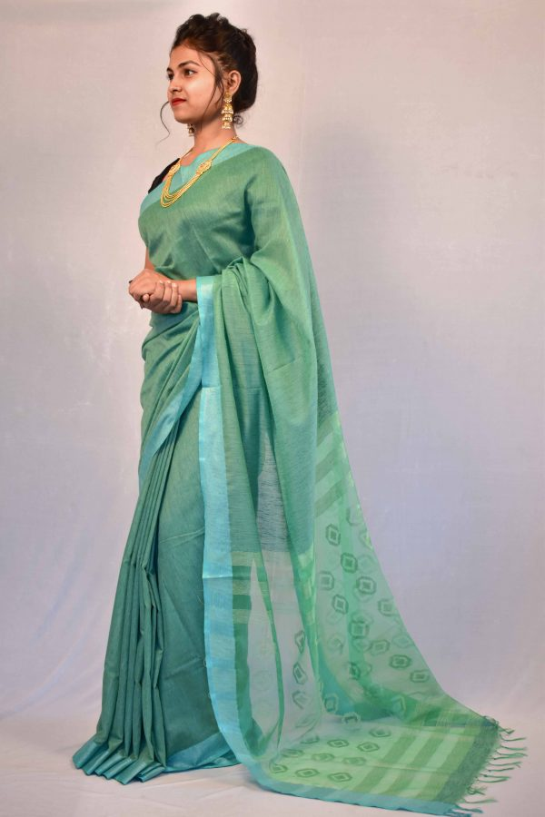 Green Color Fancy Cotton Saree