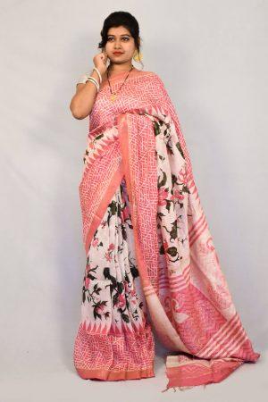 Pink Color Silk Linen Printed Saree