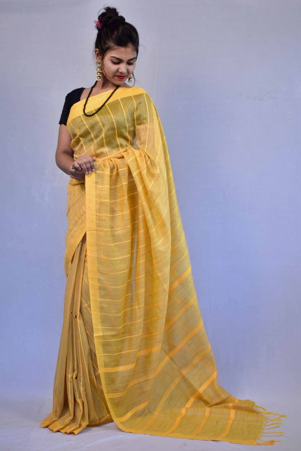 Yellow Color Fancy Cotton Saree