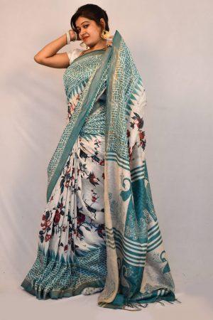 Sky Blue Color Silk Linen Printed Saree