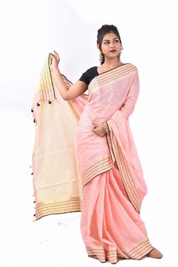 Light Pink Color Pure Linen Saree