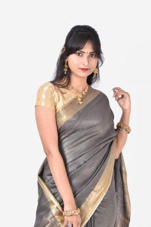 Grey Color Silk Saree