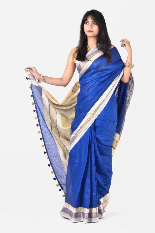 Blue Color Pure Linen Saree