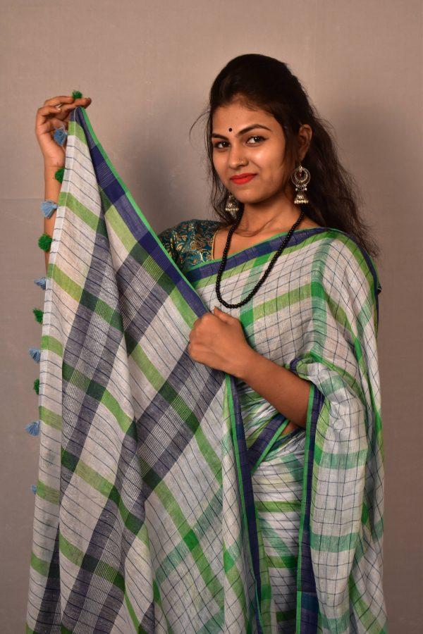 Multicolor Pure Linen Saree