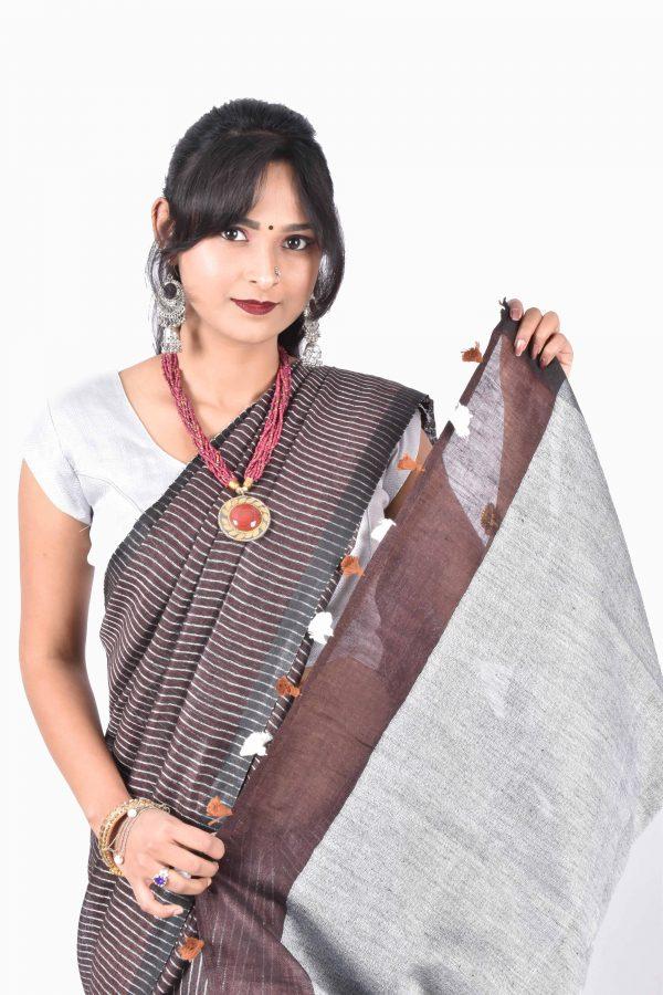 Brown Color Pure Linen Saree