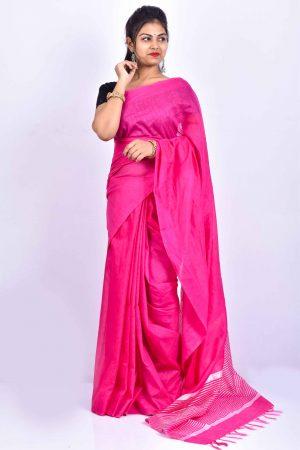 Pink Color Cotton Linen Saree