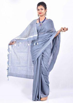 Purple Color Cotton Linen Saree
