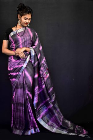 Purple Color Cotton Tie and Dye Saree