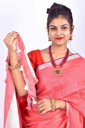 Red Color Cotton Linen Saree