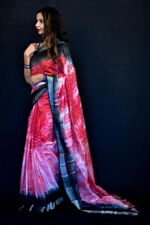 Red Color Cotton Tie and Dye Saree