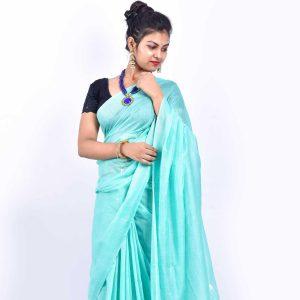 Sky Blue Color Cotton Linen Saree