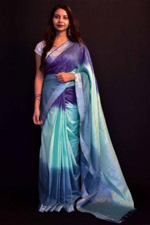 Sky Blue Color Cotton Tie and Dye Saree