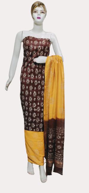 Brown Color Katan staple Handprint suit