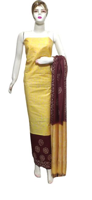Cream Color Katan Staple Handprint Suit