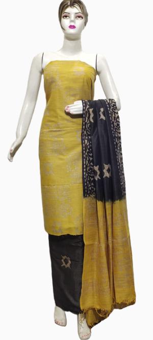 Yellow Color Katan Staple Handprint Suit