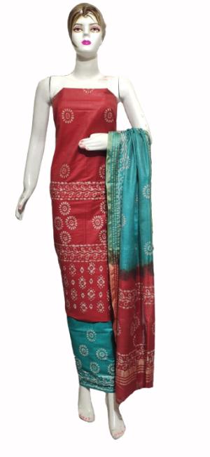 Red Color Katan Staple Handprint Suit
