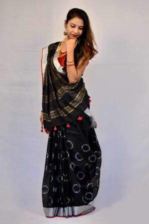 Black Color Jamdani Linen Saree