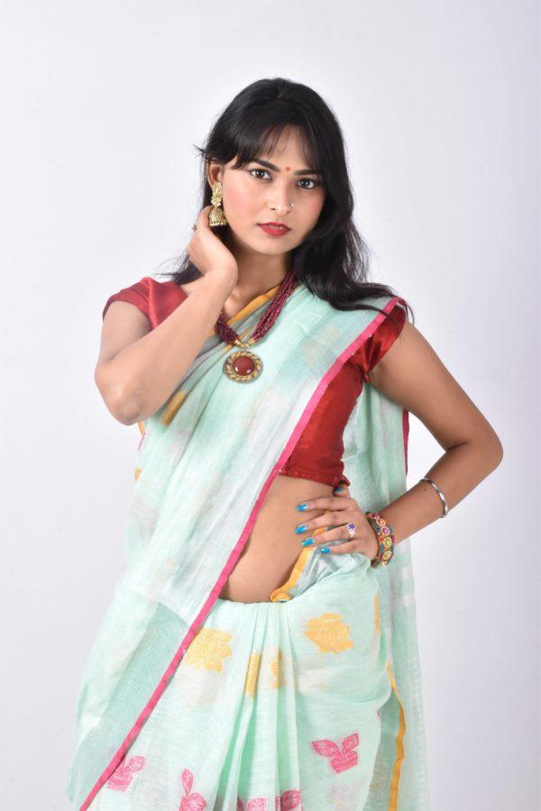 Light Green Color Jamdani Linen Saree