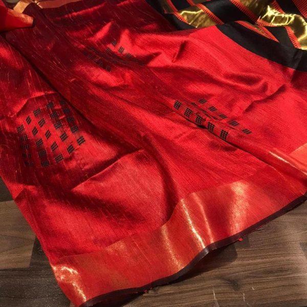 Red Color Dupion Raw Silk Saree
