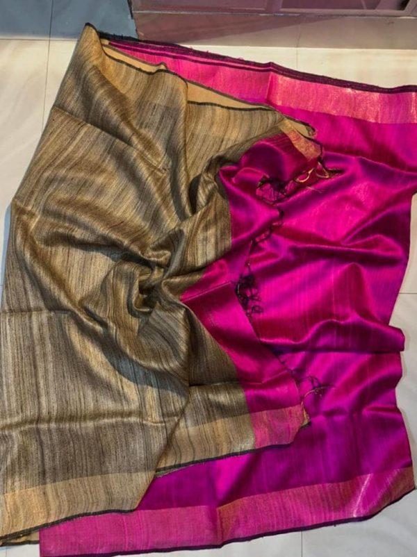 Pink Color Dupion Raw Silk Saree