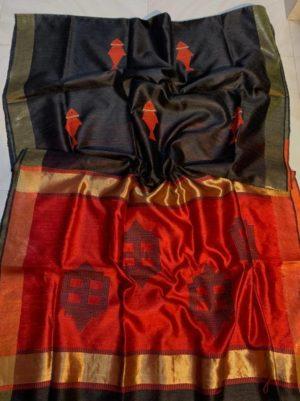 Black Color Dupion Raw Silk Saree