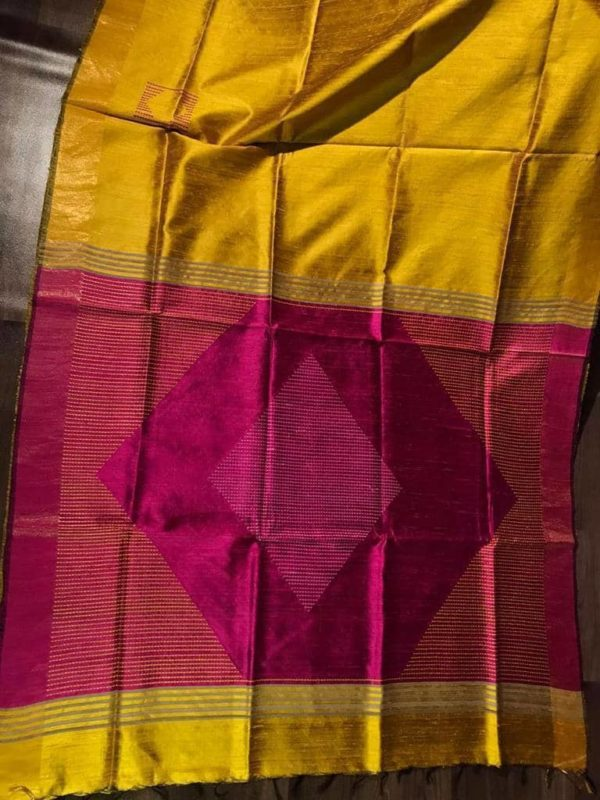 Golden Color Dupion Raw Silk Saree